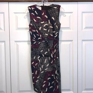 Donna Morgan Printed Faux Wrap Dress Size 4